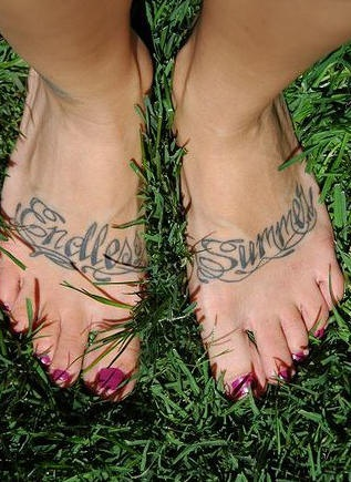 Styled endless summer foot tattoo for Endless summer tattoo