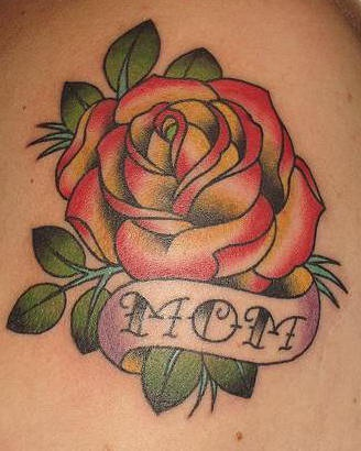 Traditional style red rose tattoo - Tattooimages.biz