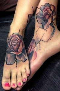 Beautiful graphic roses tattoo on ankle by petra hlavackova