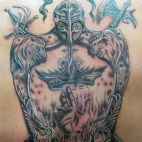 Vivid colors family crest with motto tattoo on half sleeve for Family motto tattoos