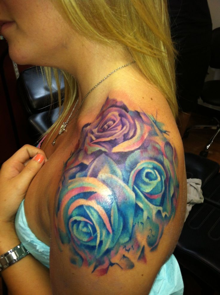 watercolor roses tattoo on shoulder for girls
